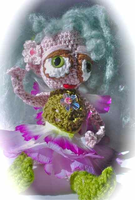 Cute crochet flower fairy blue hair