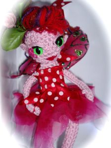 Red haired fairy crochet doll