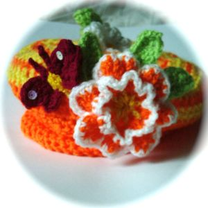 Citrus striped flower hat