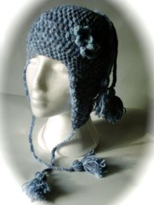 Blue  girls daisy tassle crochet earflap hat