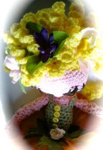 Detail of ringlet hair on crochet ballerina