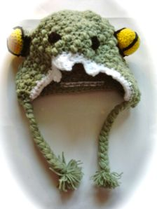 Crochet dinosaur hat green teeth