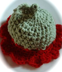 Flower hat for babies red and green