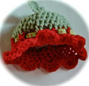 Red and green flower petal beanie for babies