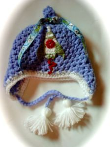 Baby boy earflap crochet hat rocket
