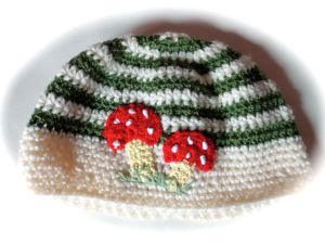 Toadstool green striped adult crochet beanie hat