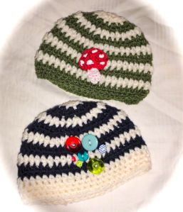 Stripy crochet baby boys beanies hats