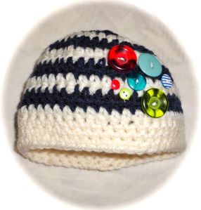 Navy striped boys button beanie crochet hat