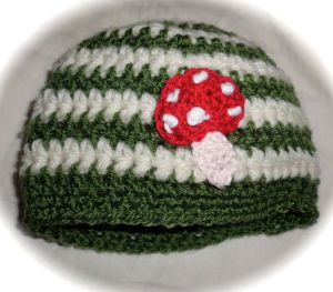 Green striped toadstool boys beanie hat