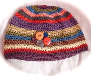 Beanie cotton striped button crochet hat