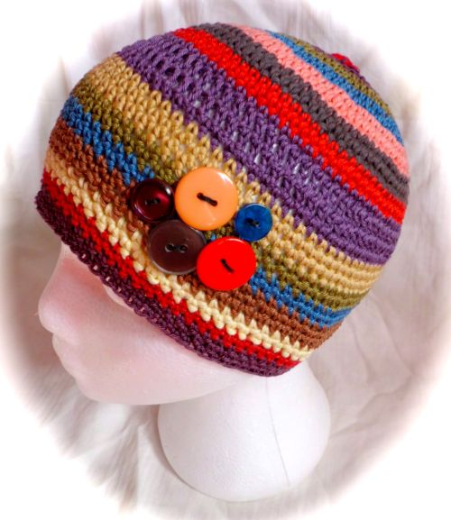 Cotton striped boho button beanie
