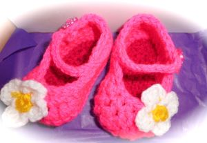 Fuchia hot pink baby slippers