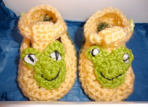 Yellow frog booties