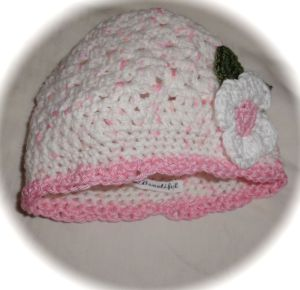 Pretty pink and white baby beanie crochet hat daisy
