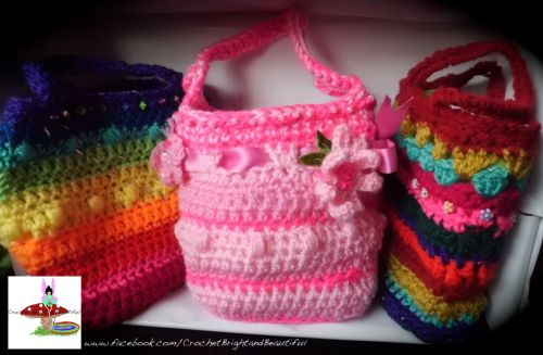 Children's crocheted hand beaded bags