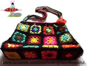 Black and bright granny square tote bag