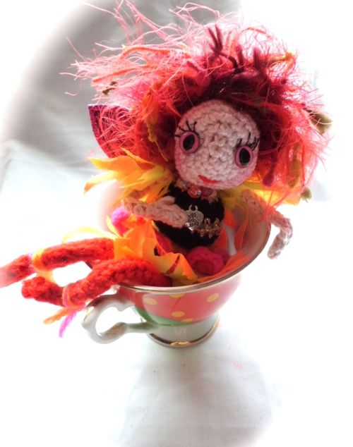 Crochet fairy in teacup