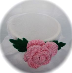 Cotton pink rose baby headband